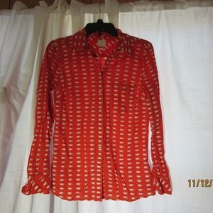 Orange button up with coffee cups womens Sm Gap